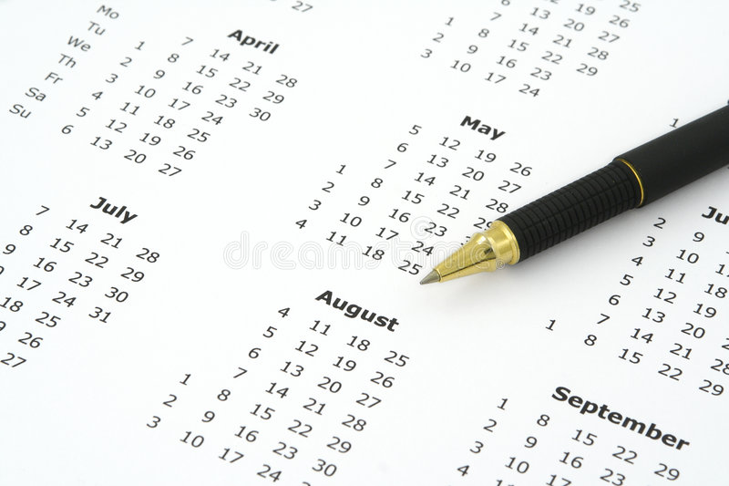 圆珠笔日历笔 免版税库存照片
