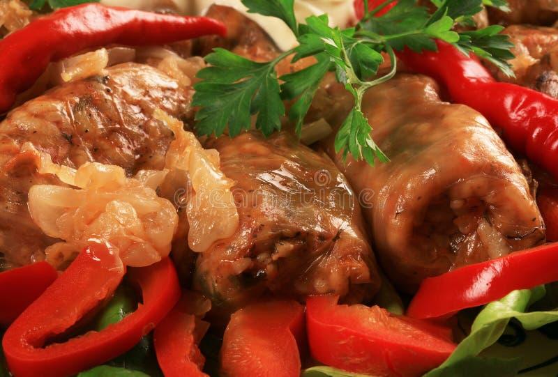 圆白菜盘罗马尼亚语被充塞的传统 免版税图库摄影