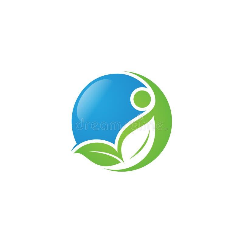 圆的与叶子和人的健康人的商标概念例证 向量例证