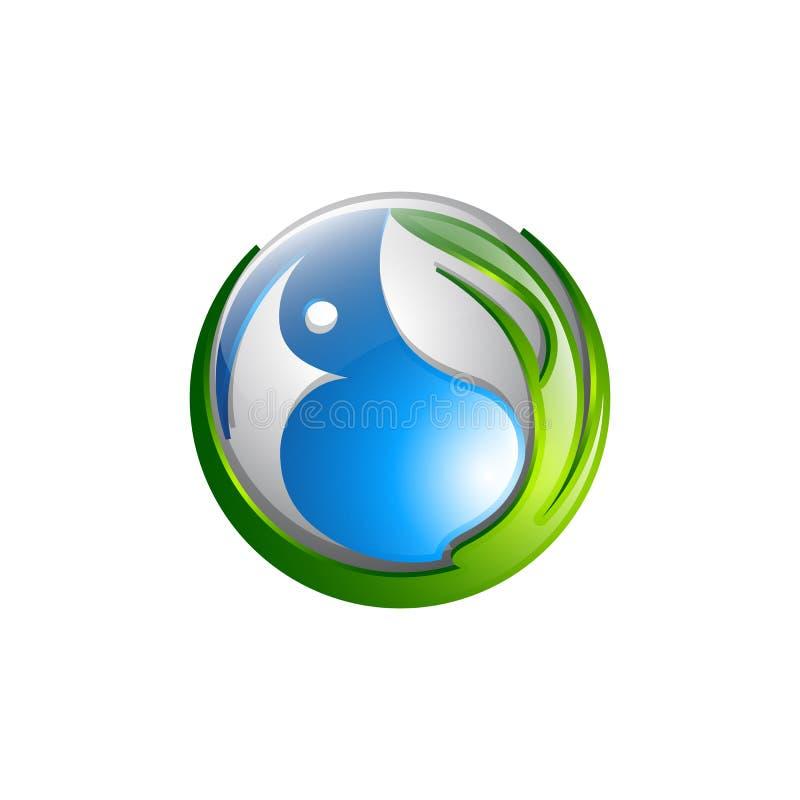 圆的与的叶子的健康人的传染媒介商标概念例证 向量例证
