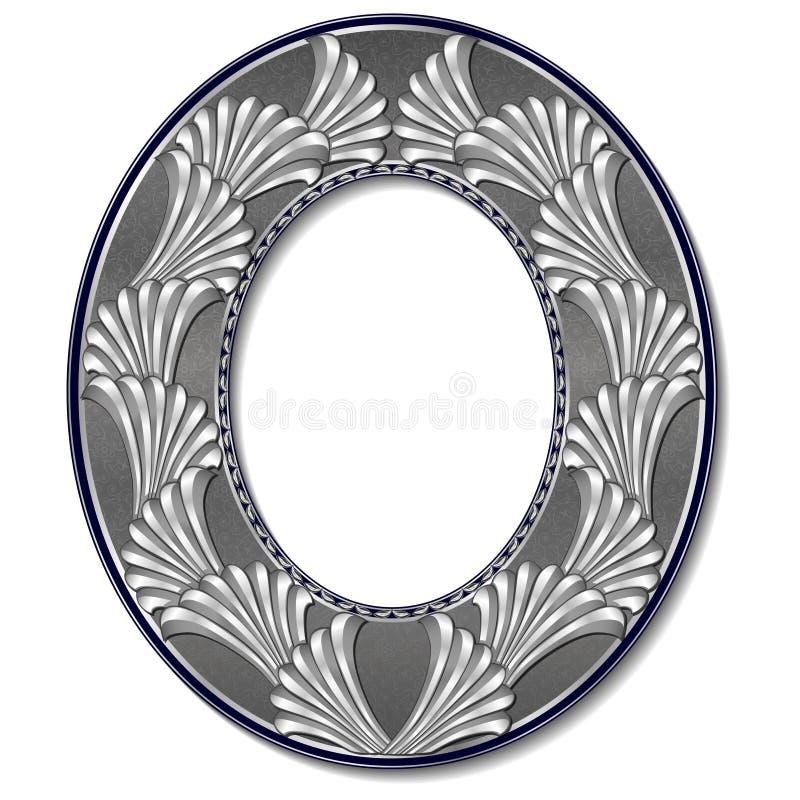 圆的与阴影的框架银色颜色 向量例证