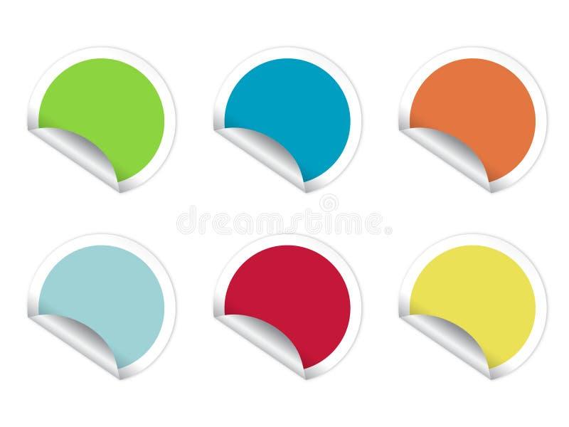 圆的五颜六色的贴纸 向量例证