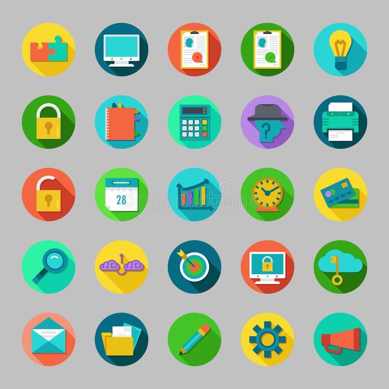 圆的传染媒介平的象设置了与事务,事务,营销, seo的概念 向量例证