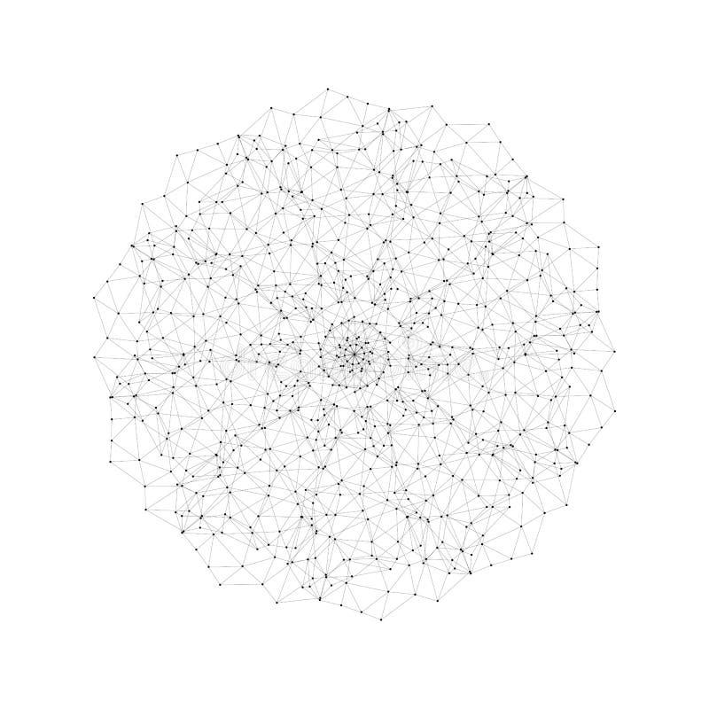 圆的传染媒介形状,分子建筑有被连接的线和被隔绝的小点,科学或者数字式设计样式的 向量例证