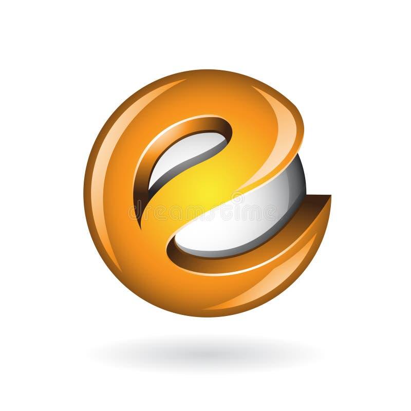 圆的光滑的信件E 3d橙色商标象 皇族释放例证