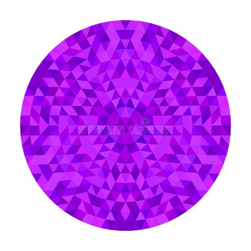 圆的几何三角万花筒坛场设计-对称从五颜六色的三角的传染媒介样式数字式艺术 库存例证