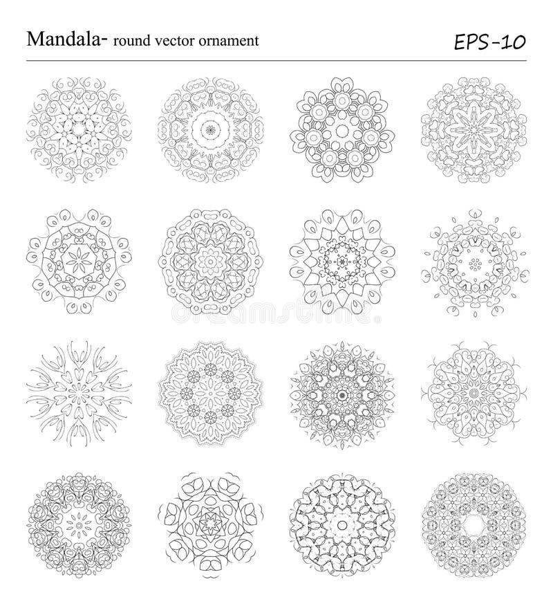 圆的几何装饰品被设置有的得出的乱画 向量例证