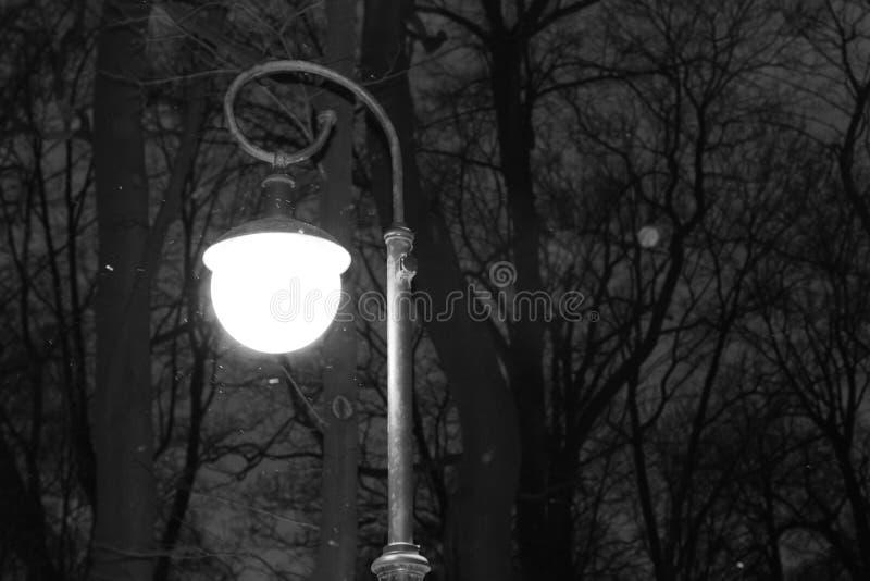 圆的发光的灯笼在冬天夜 秋天铁路剪影雪跟踪培训隐晦 免版税库存照片