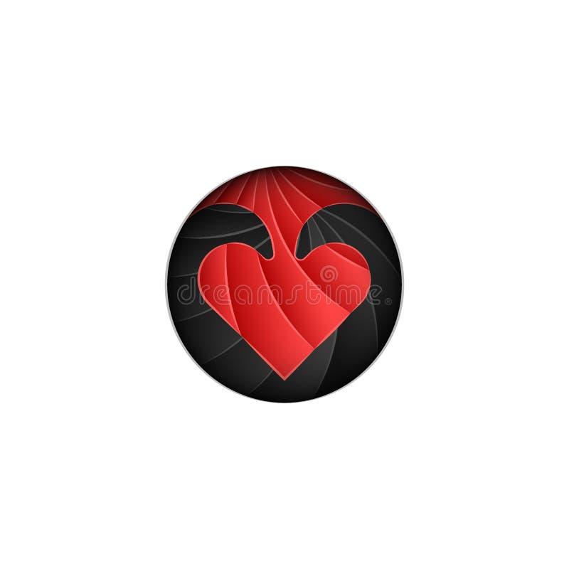 圆的商标为情人节,在黑背景的鳞状红心仿照从纸的物质设计裁减样式 向量例证