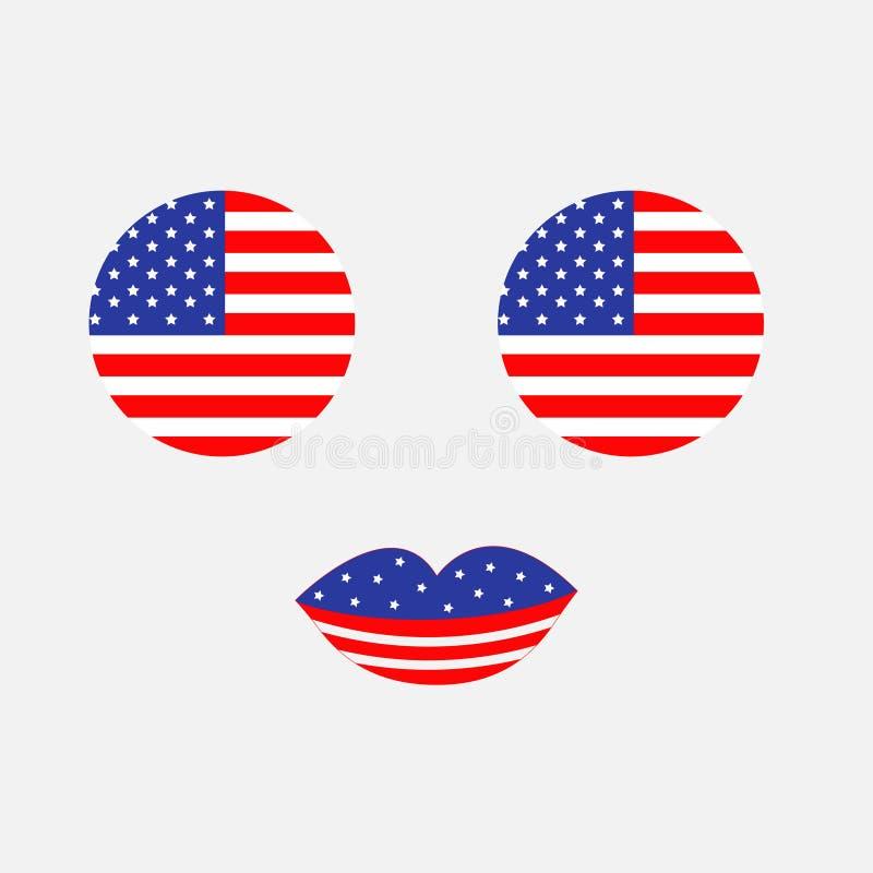 圆的圈子形状美国国旗象集合 与眼睛和嘴唇的面孔 星和小条 美国状态团结了 7月4日 愉快的i 向量例证