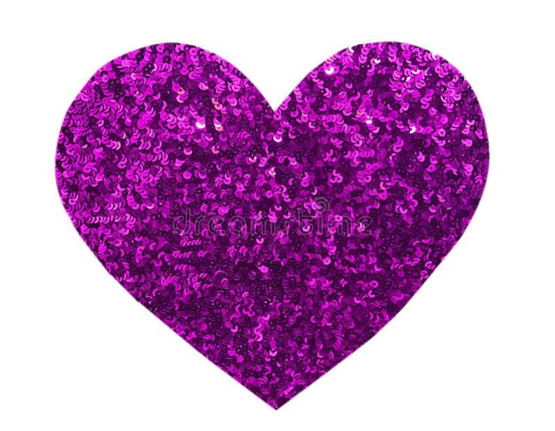 圆的在心脏形状的闪烁紫色衣服饰物之小金属片 库存图片