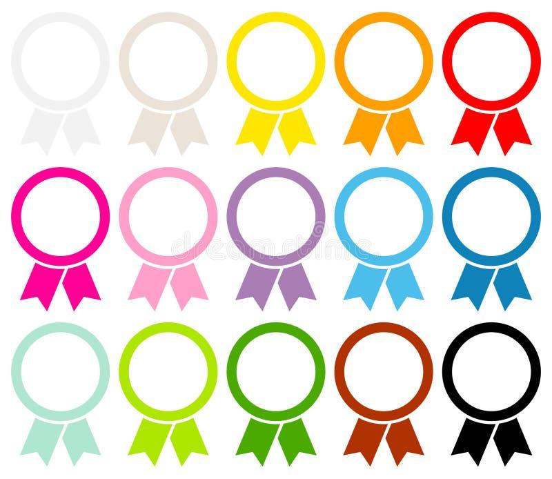 圆的奖证章框架图表彩色组 库存例证