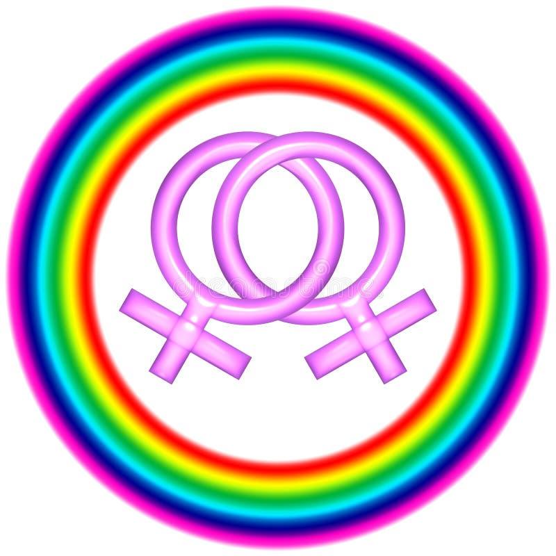 圆的女同性恋的徽标爱 向量例证