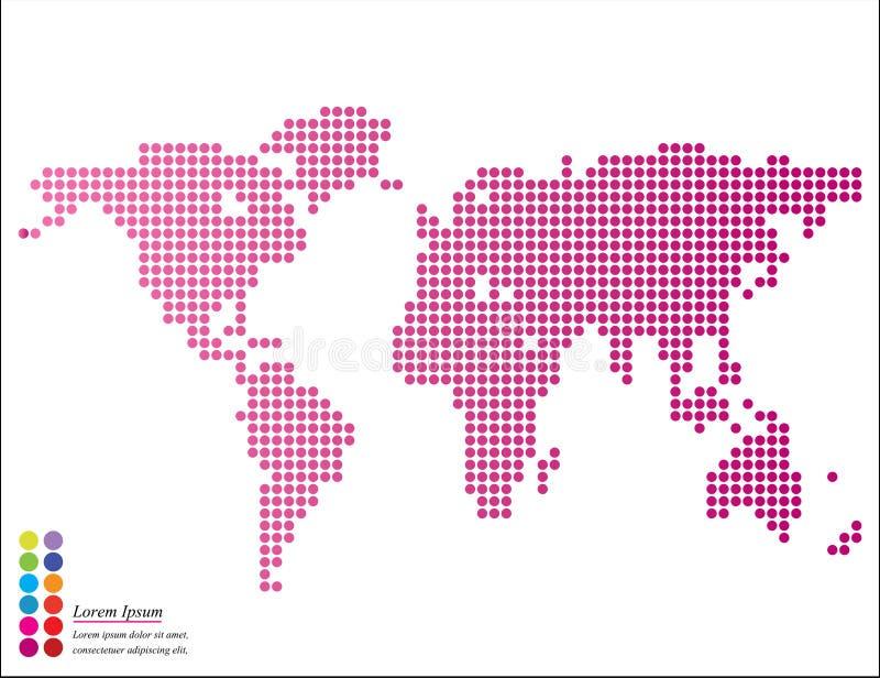 圆的小点抽象图表世界地图与尖标记的 皇族释放例证