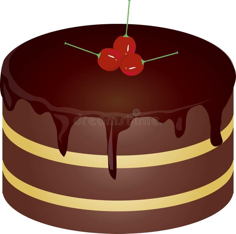 圆的巧克力蛋糕用在白色背景的红色樱桃 设计元素,被隔绝的对象 向量例证