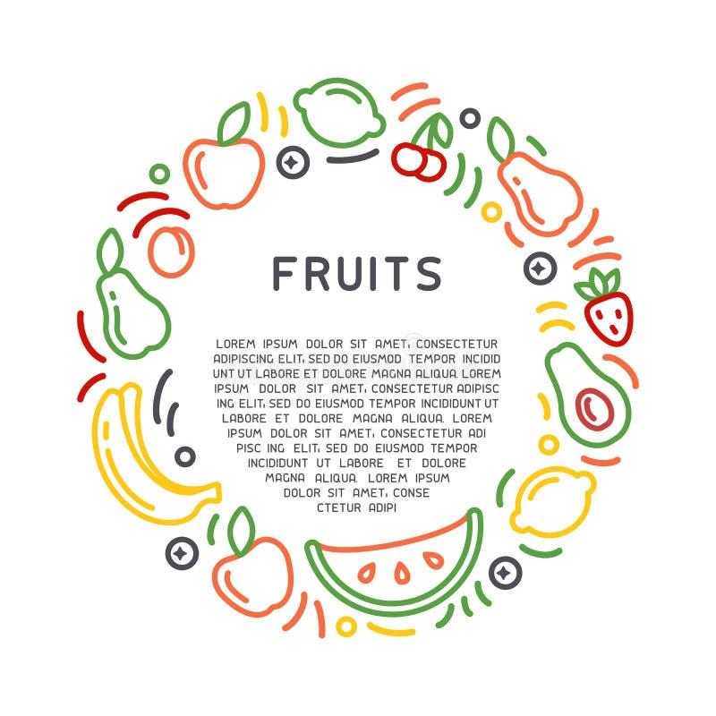 圆的形式概念用果子和barries 皇族释放例证