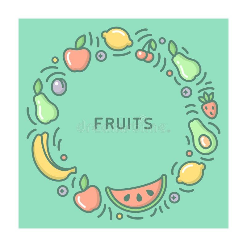 圆的形式概念用果子和barries 向量例证