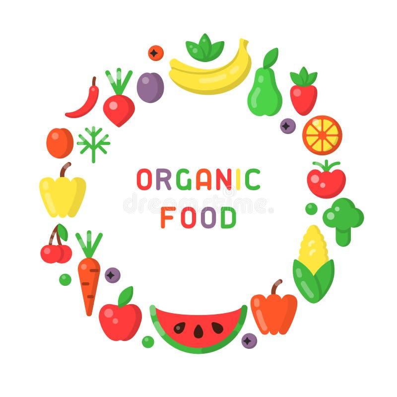 圆的形式概念用水果和蔬菜 向量例证