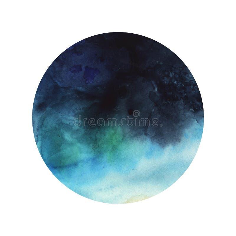 圆的抽象水彩梯度深蓝色海 皇族释放例证