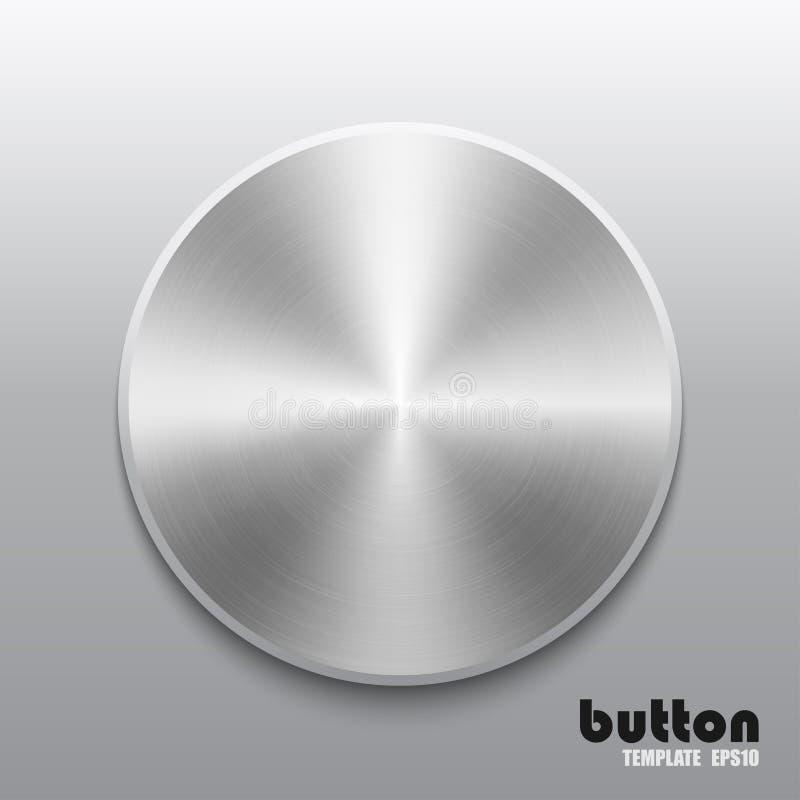 圆的按钮模板有金属或铝镀铬物纹理的 皇族释放例证