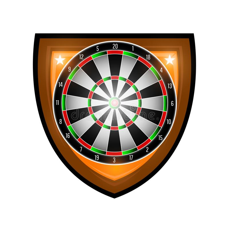圆的掷镖的圆靶在白色隔绝的盾的中心 任何箭比赛或冠军的体育商标 皇族释放例证