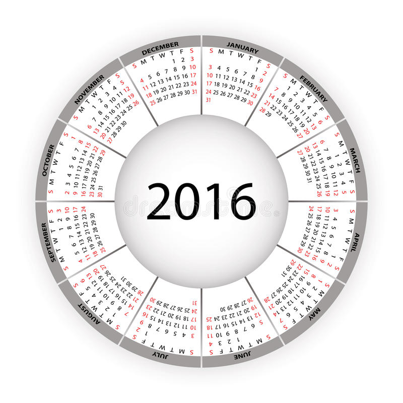 圆的日历2016年 皇族释放例证