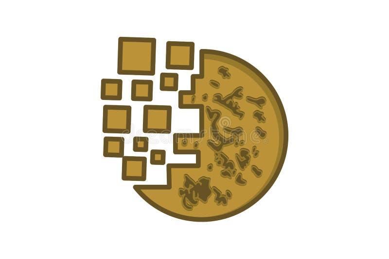 圆的曲奇饼数字式商标设计在白色背景隔绝的启发 向量例证