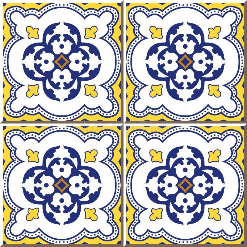 圆的曲线小点葡萄酒无缝的墙壁瓦片排行,摩洛哥人,葡萄牙语 皇族释放例证