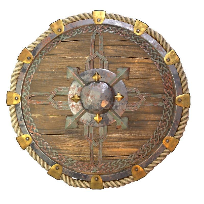 圆的有铁插入物的幻想木盾在被隔绝的白色背景 3d?? 皇族释放例证