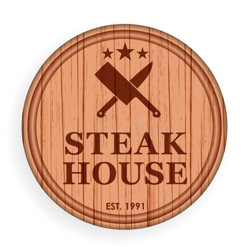 圆的木板材,切板 牛排设计商标标签的元素模板牛排餐厅的 也corel凹道例证向量 皇族释放例证