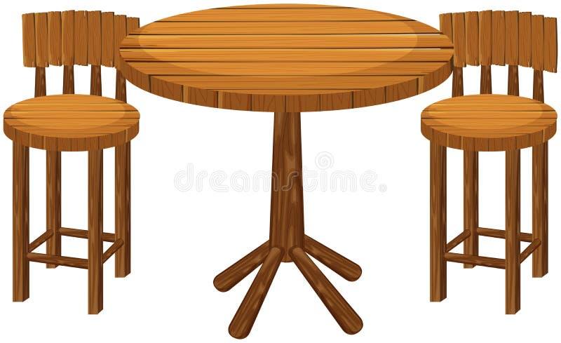 圆的木桌和椅子 向量例证