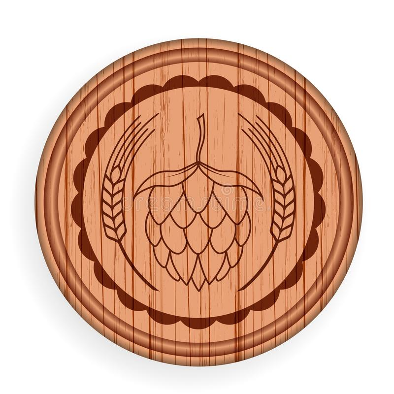 圆的木牌 啤酒设计商标标签的元素模板酒吧的 也corel凹道例证向量 皇族释放例证