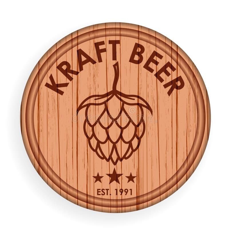 圆的木牌 啤酒设计商标标签的元素模板酒吧的 也corel凹道例证向量 库存例证