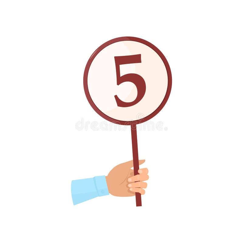 圆的标志板在有第的五人手上 库存例证