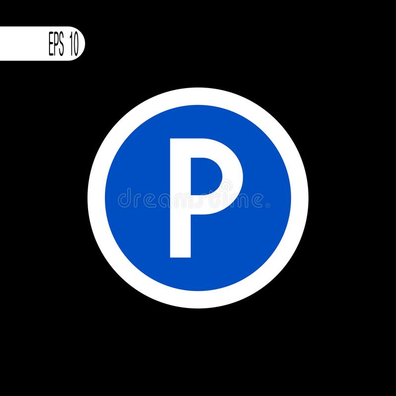 圆的标志白色稀薄的线 停车处标志,象-传染媒介例证 库存例证