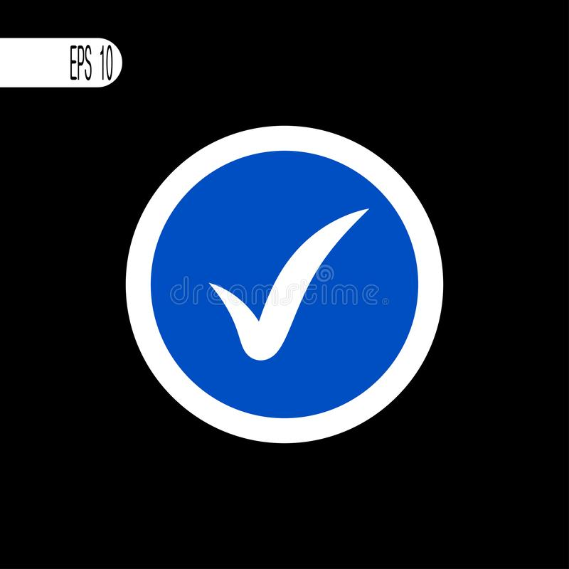 圆的标志白色稀薄的线 检查标志,象-传染媒介例证 向量例证