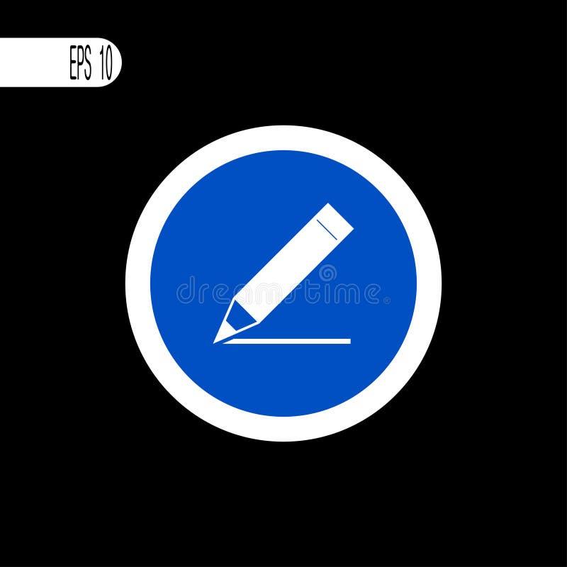 圆的标志白色稀薄的线 笔,铅笔文字标志,象-传染媒介例证 皇族释放例证