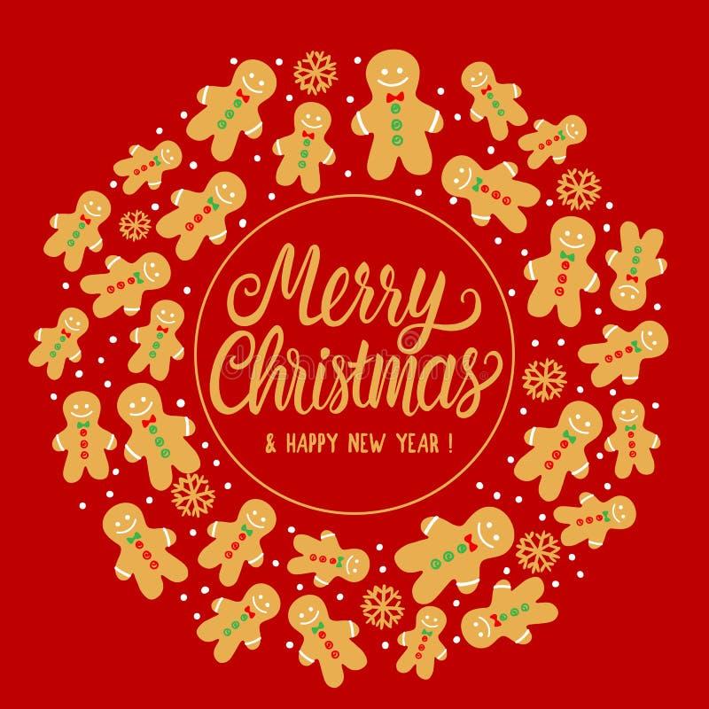 圆的框架姜饼曲奇饼人样式 在红色背景的传染媒介例证 在题字假日上写字的圣诞快乐 皇族释放例证