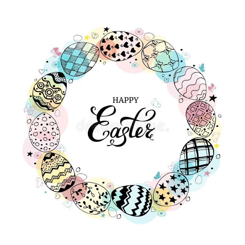圆的框架用复活节彩蛋和在白色背景的文本愉快的复活节手拉的黑色 从鸡蛋的装饰圈子 向量例证