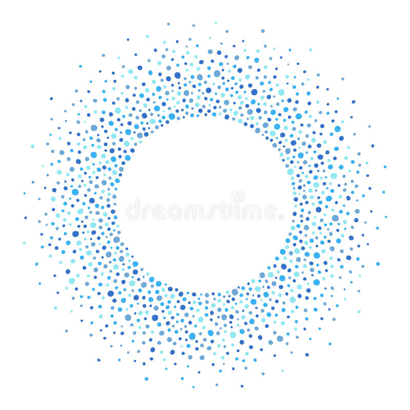 圆的框架由小点或斑点,蓝色树荫做成  皇族释放例证