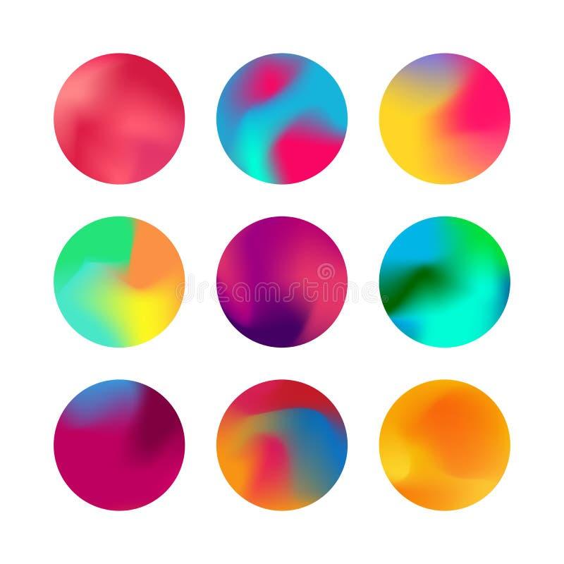 圆的梯度集合 被环绕的全息照相的梯度球形按钮 皇族释放例证