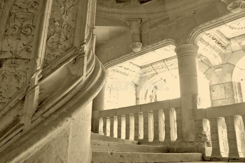 圆的楼梯石头 免版税库存图片