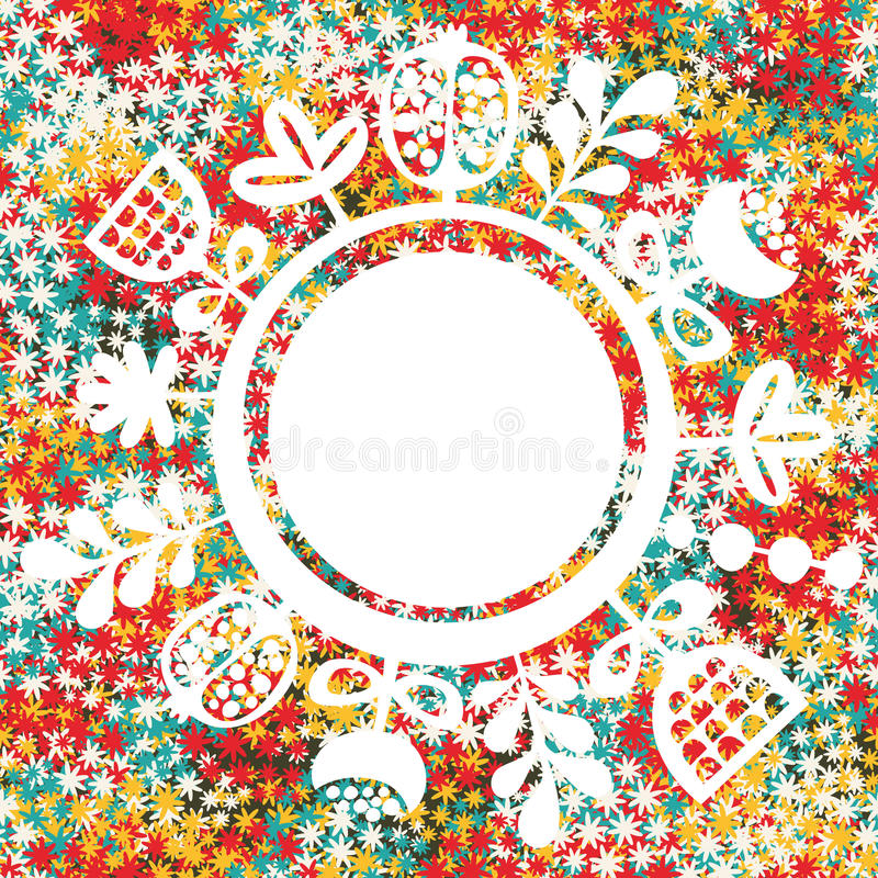 圆的横幅和花卉背景。 向量例证