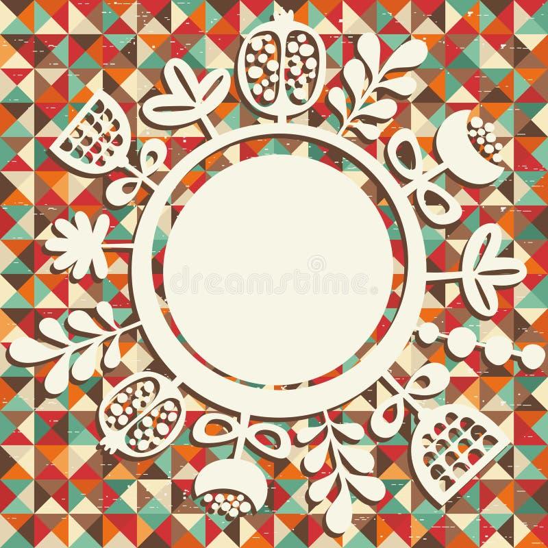 圆的横幅和花卉背景。 库存例证