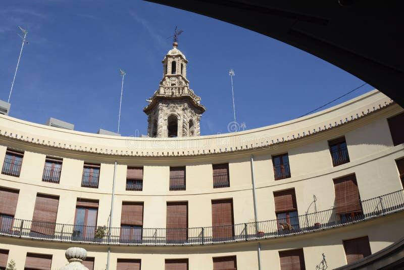圆的正方形(广场雷东达岛)在巴伦西亚,西班牙 库存图片