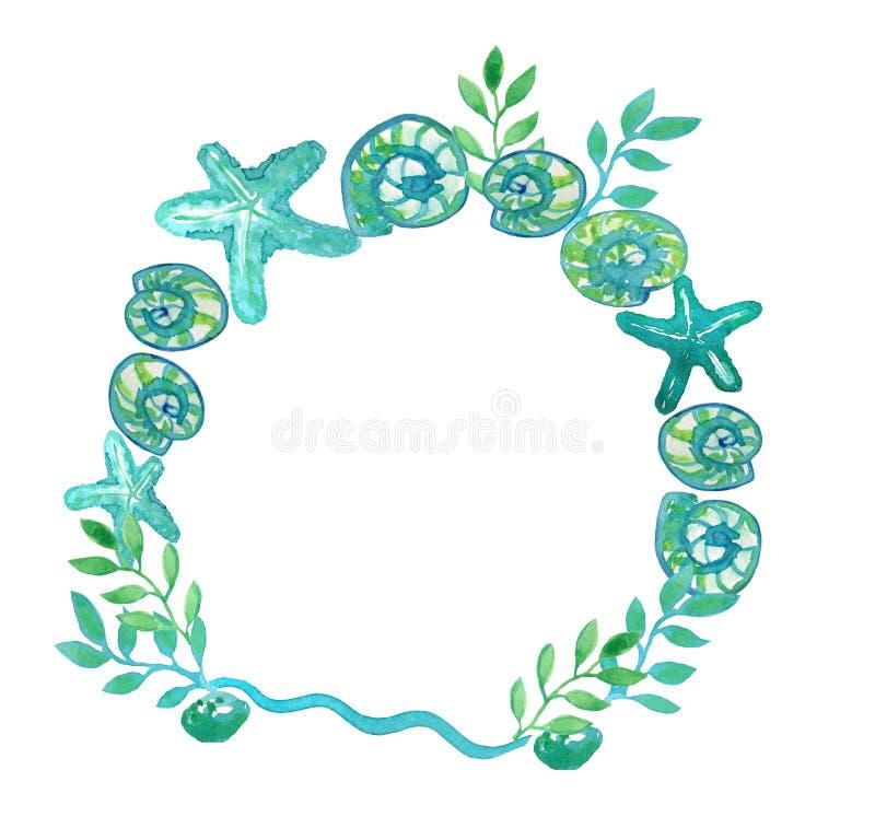 圆的海框架由海星、壳和海藻做成 向量例证
