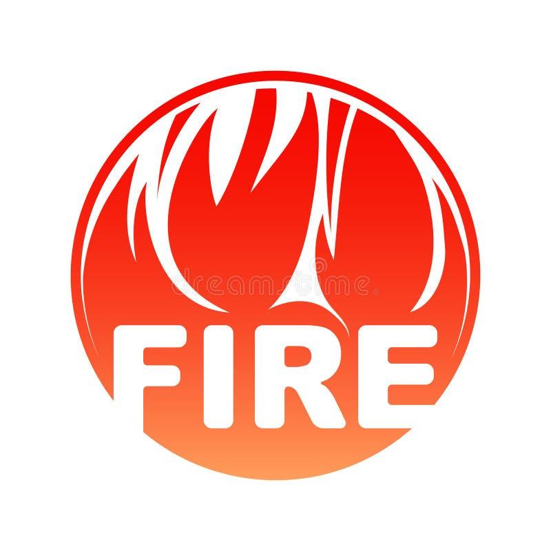 圆的火商标,与文本的红色圈子发火焰设计 向量例证