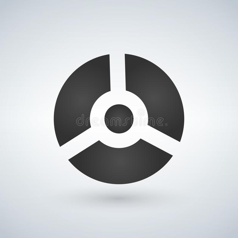 圆的灰色未来派球三部分,机器人,传染媒介例证 库存例证