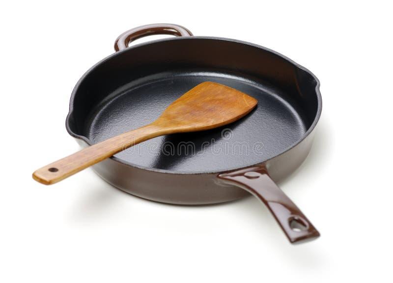 圆的生铁平板炉平底锅 免版税库存图片