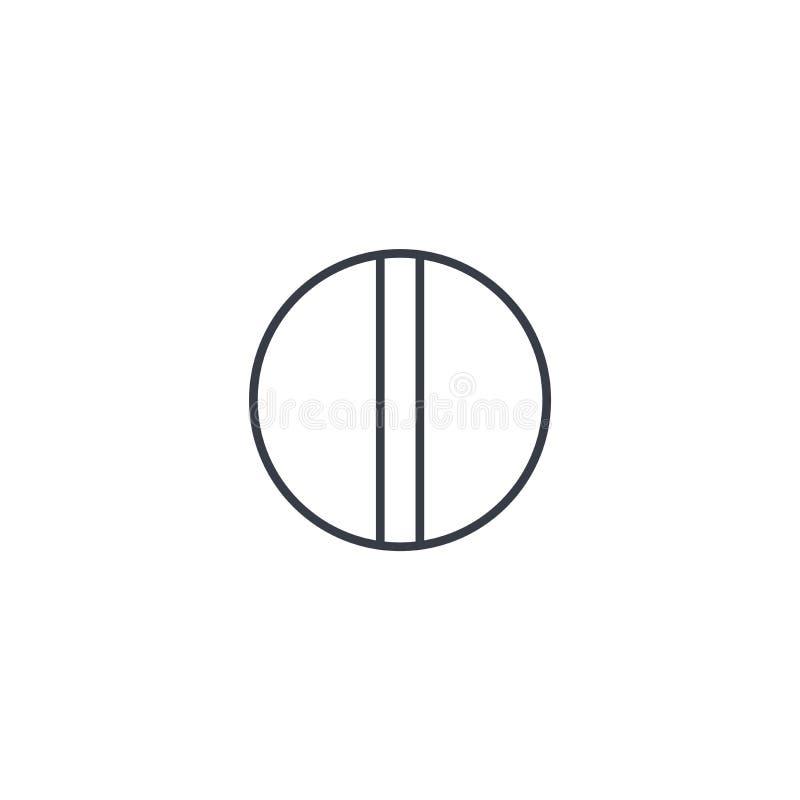 圆的白色药片稀薄的线象 线性传染媒介标志 皇族释放例证